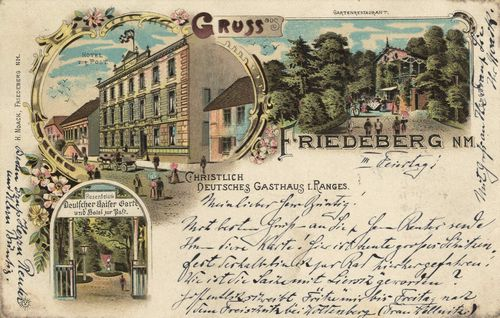 Friedeberg N. M., Ostbrandenburg: Hotel Zur Post; Gartenrestaurant; Christlich-Deutsches Gasthaus i. Ranges