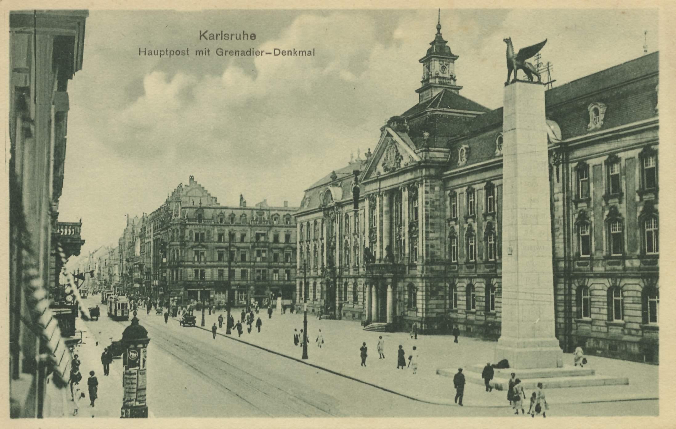 Karlsruhe baden w rttemberg postamt mit grenadierdenkmal for Outlet store karlsruhe