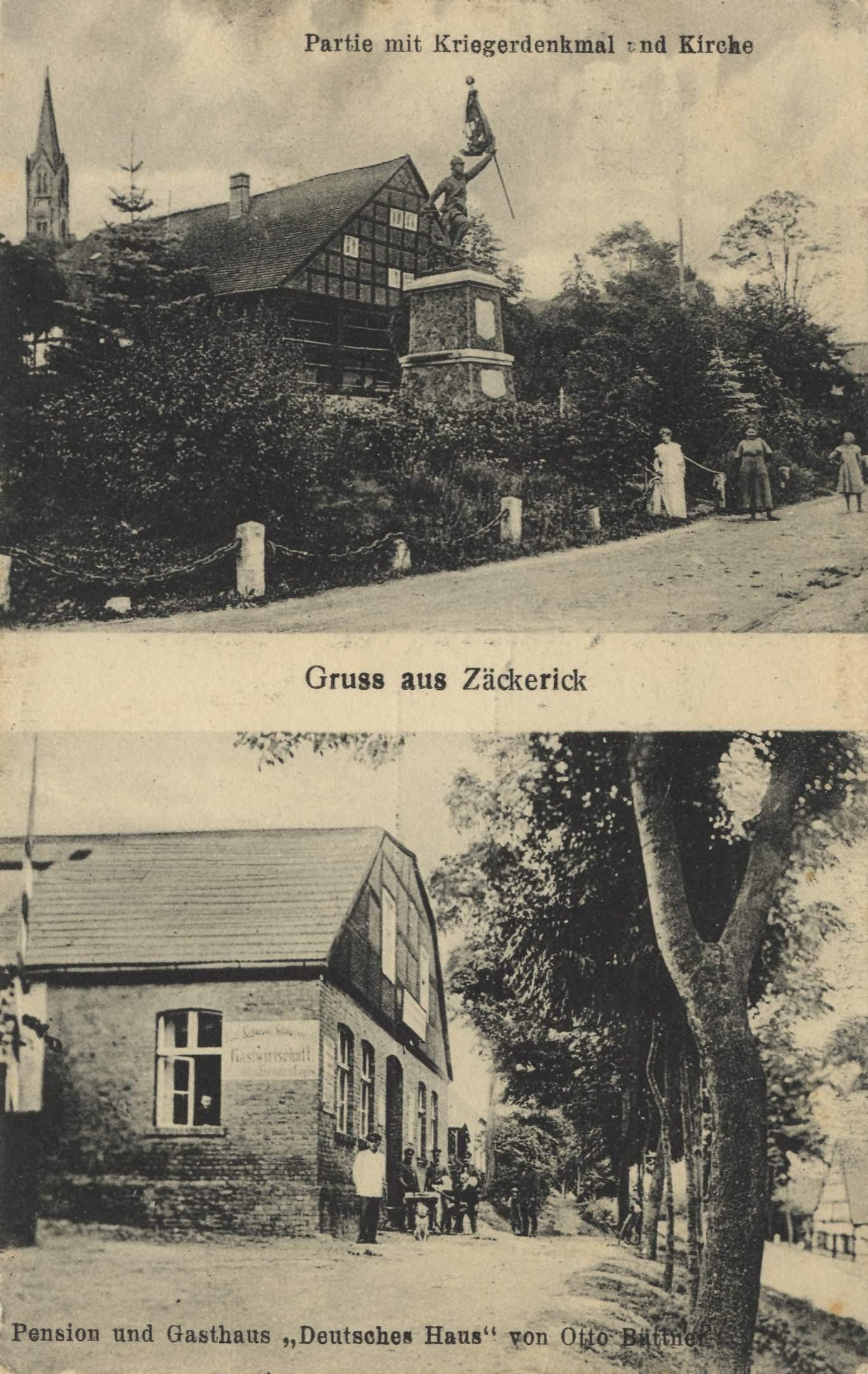 Zäckerick Ostbrandenburg Kriegerdenkmal und Kirche