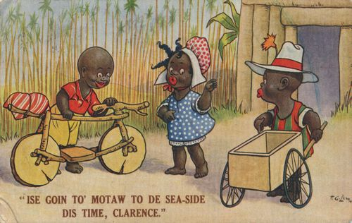 'Ise goin to' motaw to de sea-side dis time, Clarence'