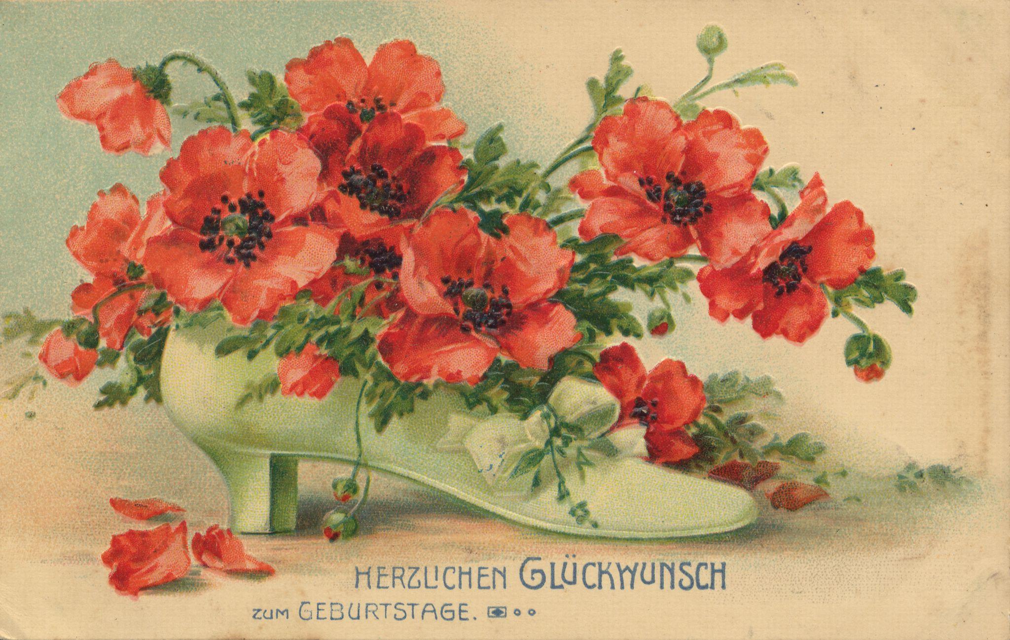 Bildpostkarte Mohn um 1900