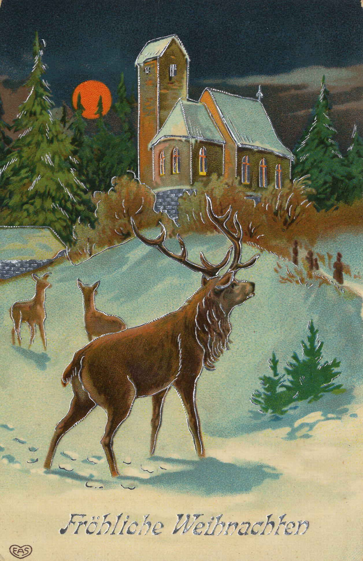 weihnachten kirchen winterlandschaft mit hirsch im. Black Bedroom Furniture Sets. Home Design Ideas