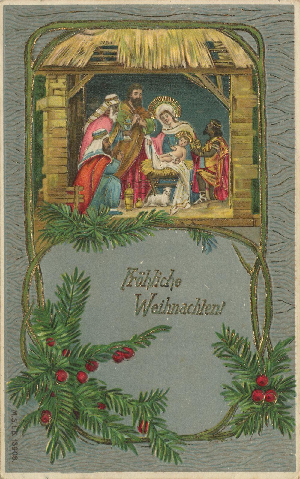 Bildpostkarte Krippe um 1900