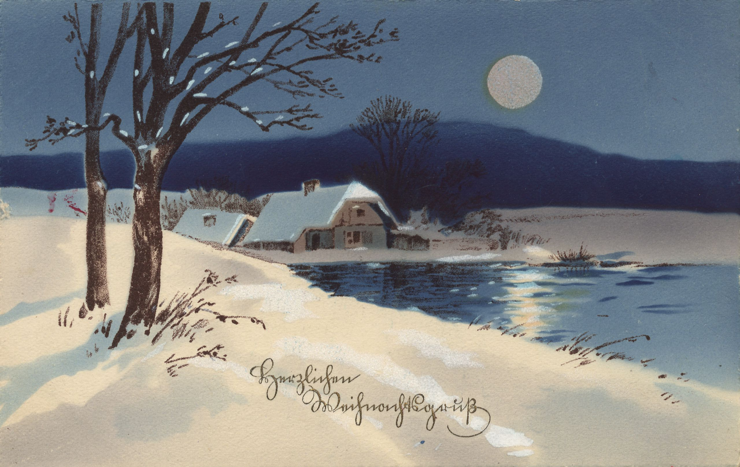 Weihnachten, Landschaften, Dörfer, Vollmond über Seehütte - Zeno.org