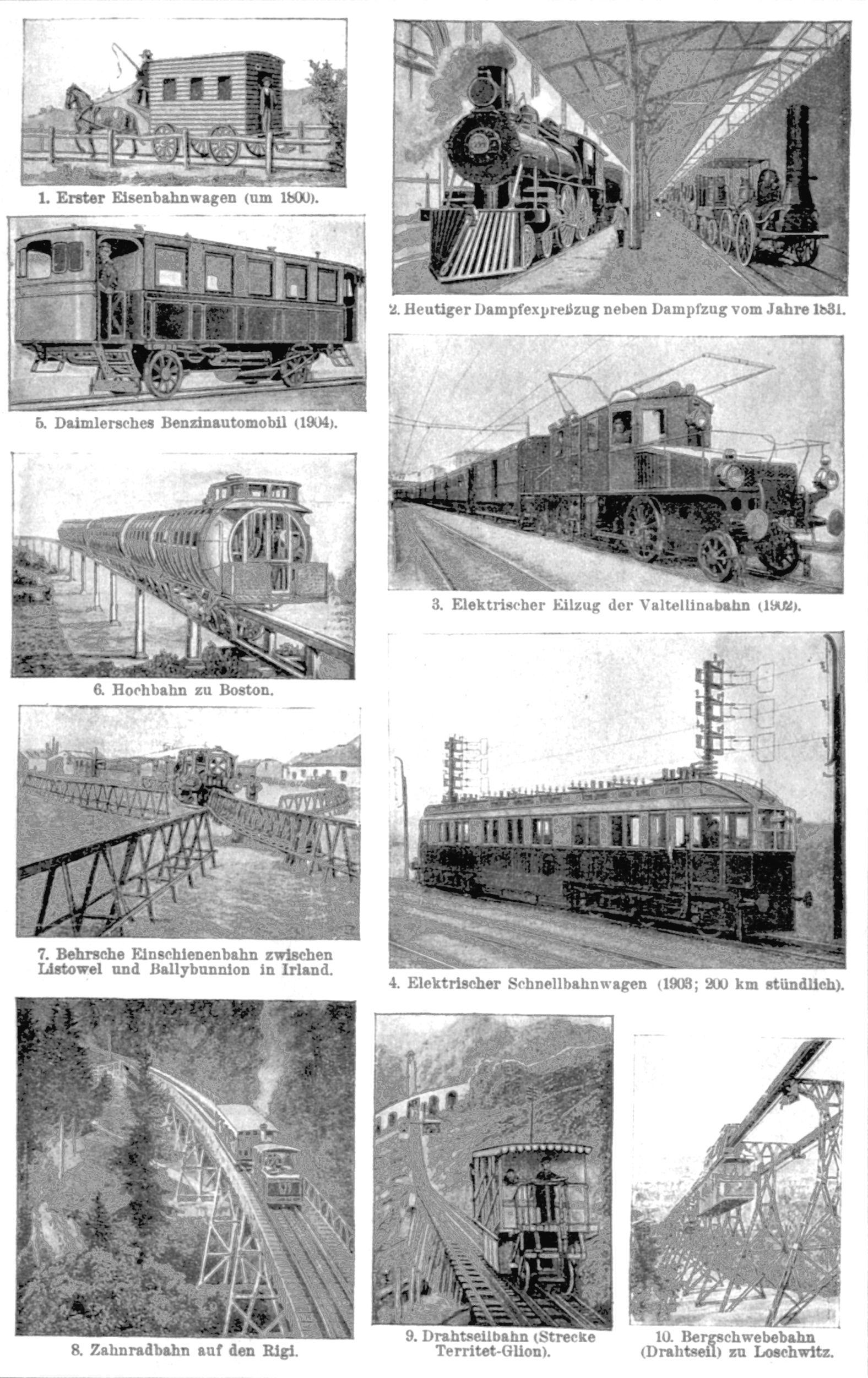 Eisenbahnwesen I. 1. Erster Eisenbahnwagen (um 1800). 2. Heutiger ...