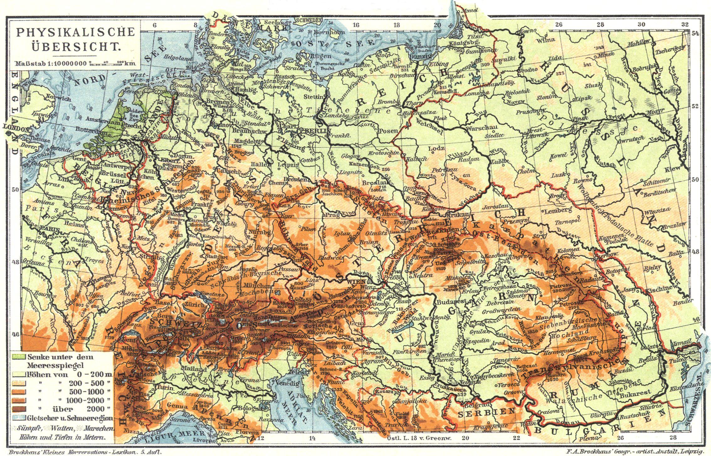 Mitteleuropa I Karte Physikalische Ubersicht Zeno Org