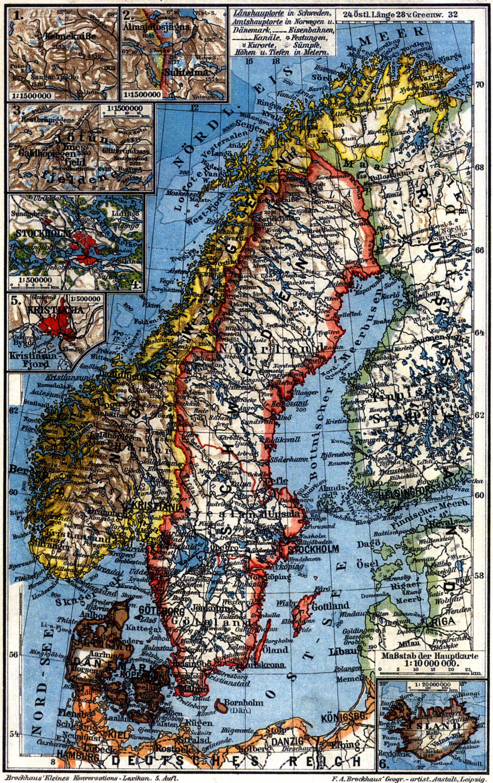 Karte Norwegen Schweden.Schweden Norwegen Und Danemark I Karten Zeno Org
