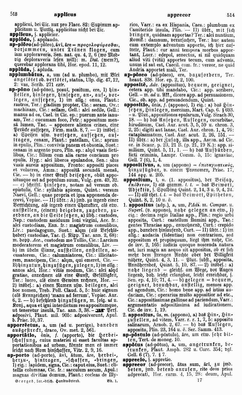 Karl Ernst Georges: Ausführliches lateinisch-deutsches Handwörterbuch. Hannover <sup>8</sup>1913 (Nachdruck Darmstadt 1998), Band 1 S. 514