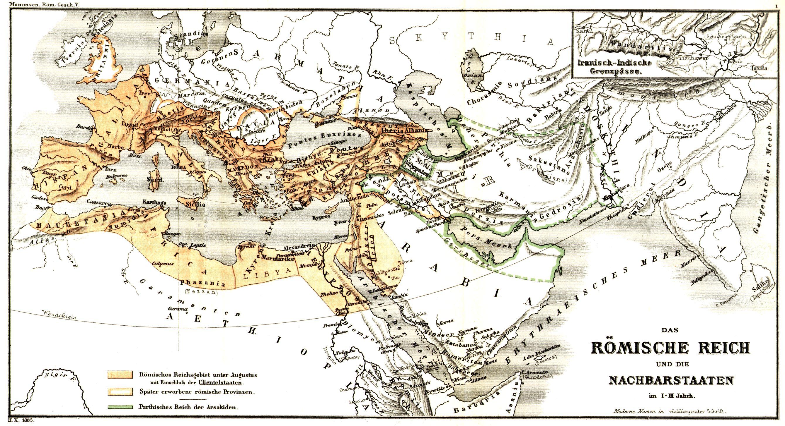 römisches reich karte Das Römische Reich und die Nachbarstaaten im I.   III. Jahrh