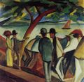 Macke, August: Spaziergänger am See (I)