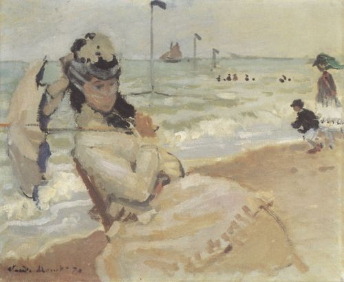 Monet, Claude: Camille am Strand von Trouville