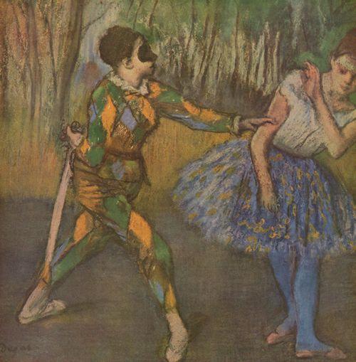 """Схема вышивки  """"Дега Андре.Арлекин и Коломбина."""