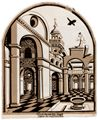 Loy, Erasmus: Hof mit Kirchturm