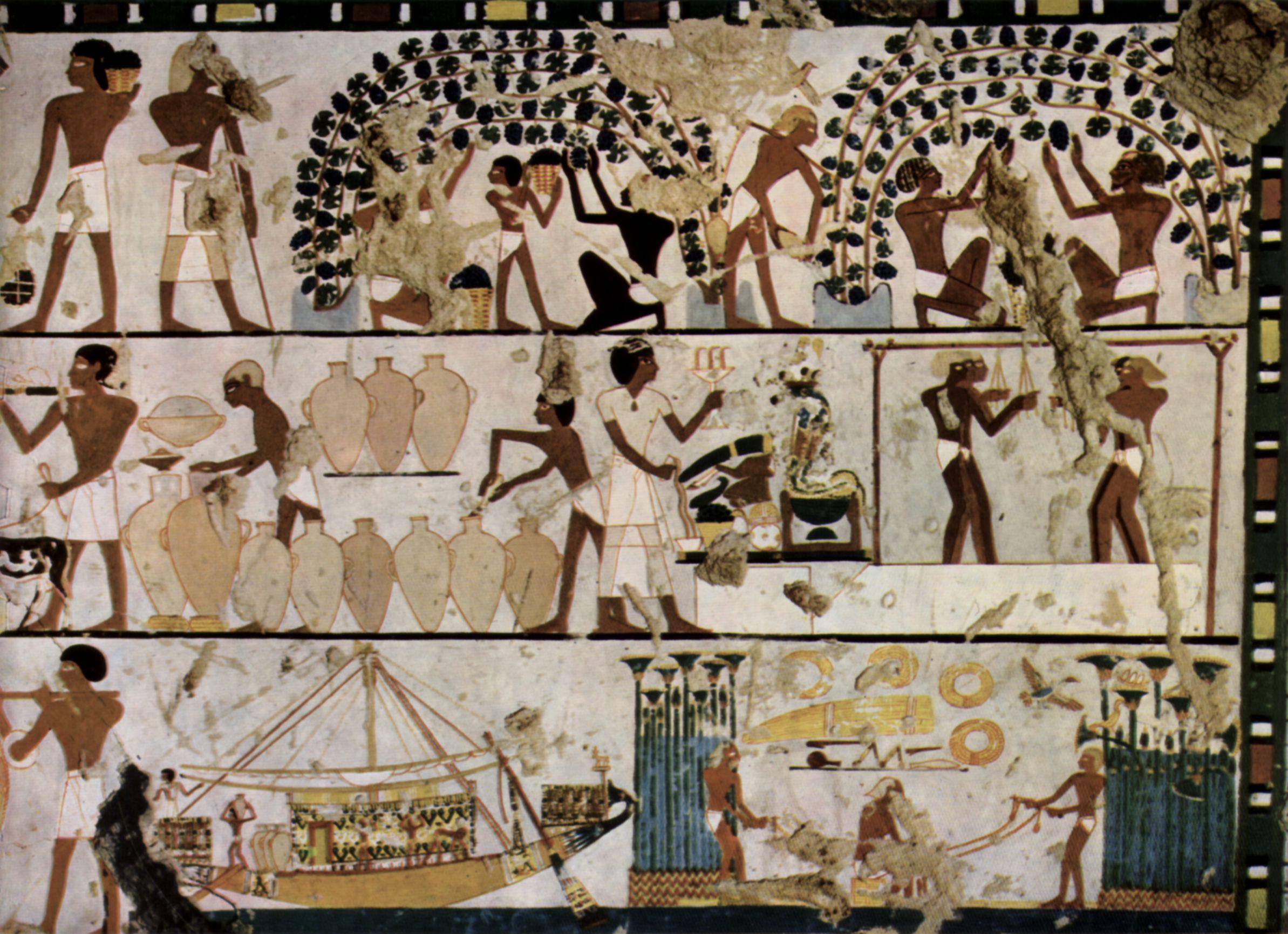 Ägyptischer Maler Um 1500 V. Chr.: Grabkammer Eines Unbekannten, Szenen Der  Wandgestaltung