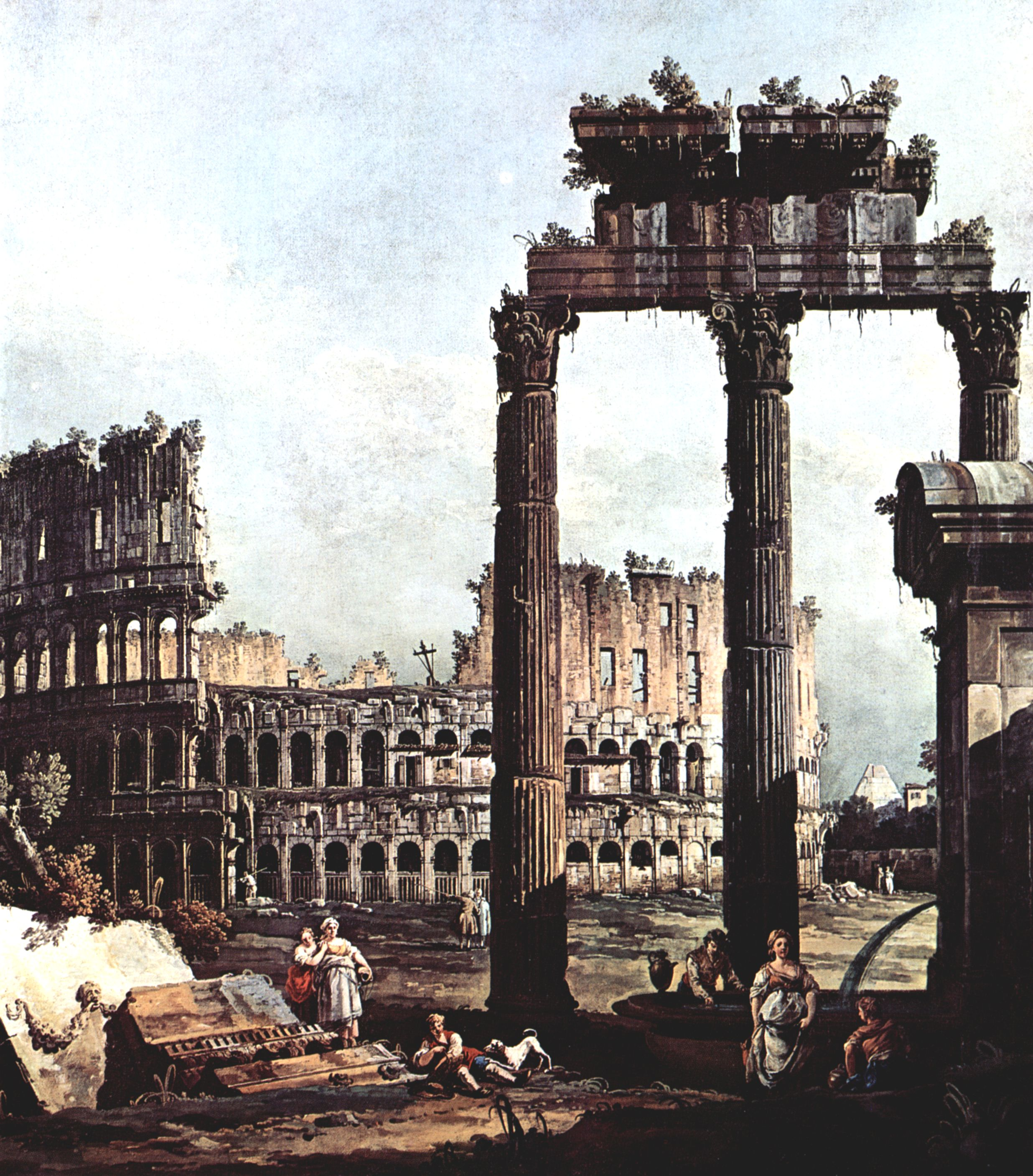 ruined columns, and figures, before the ruin of the Roman colosseum