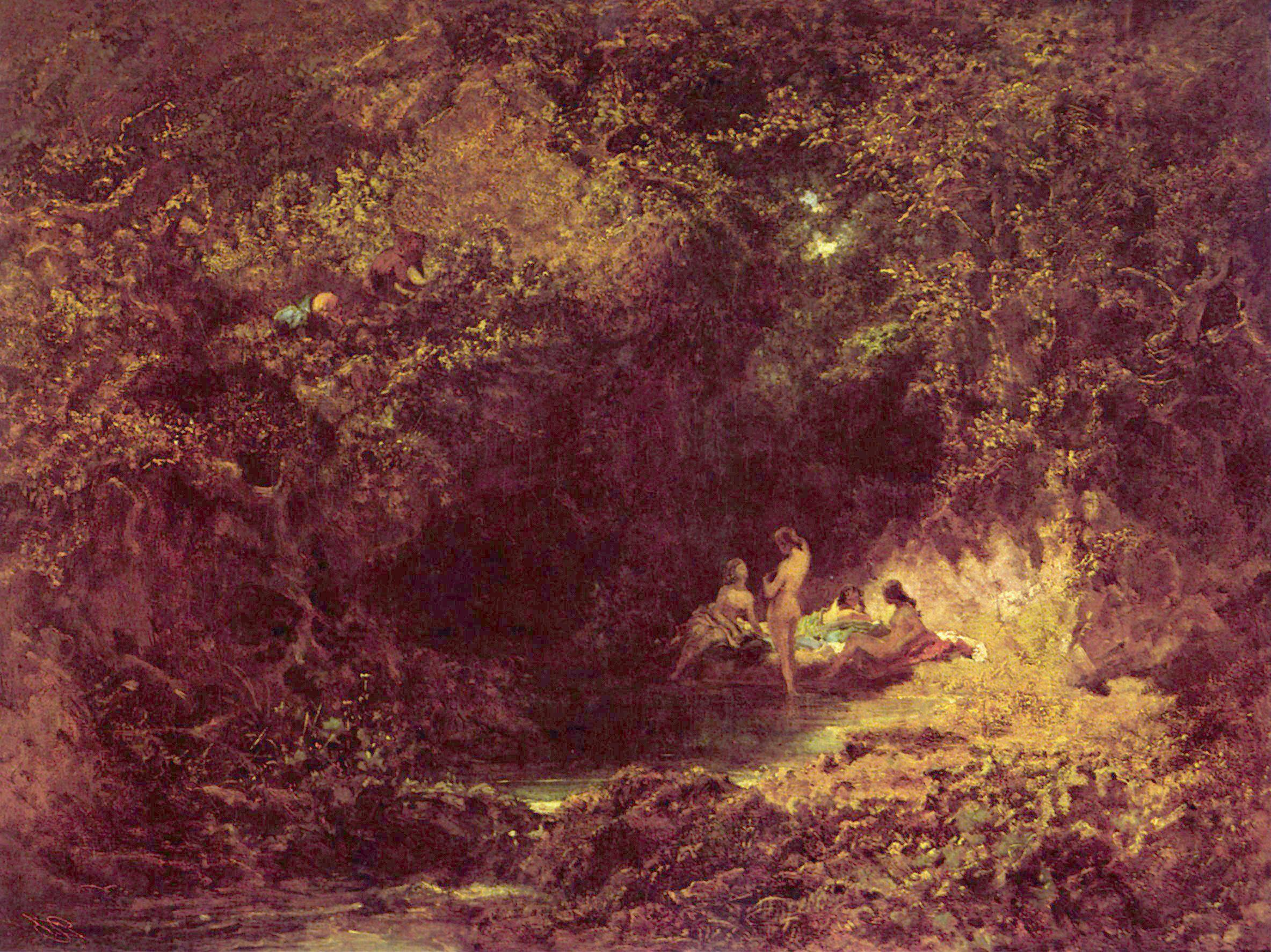 Badende Nymphe Carl Spitzweg Wald Teich Lichtung Akt Rücken H A3 0526 Gerahmt