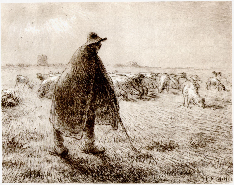 Millet (II), Jean-François: Schäfer mit Herde - Zeno.org   {Herde 49}