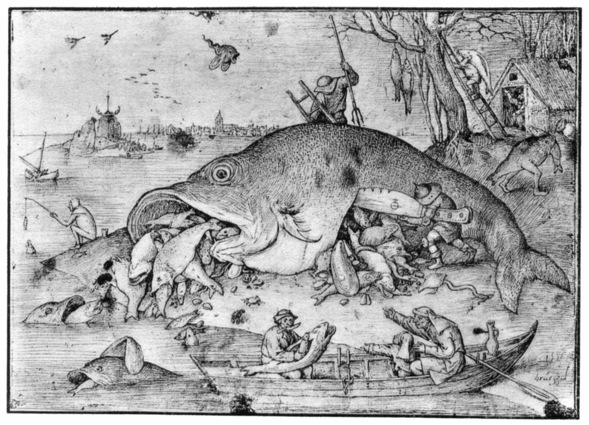 Bruegel d pieter gro e fische fressen die kleinen for Was fressen fische im teich