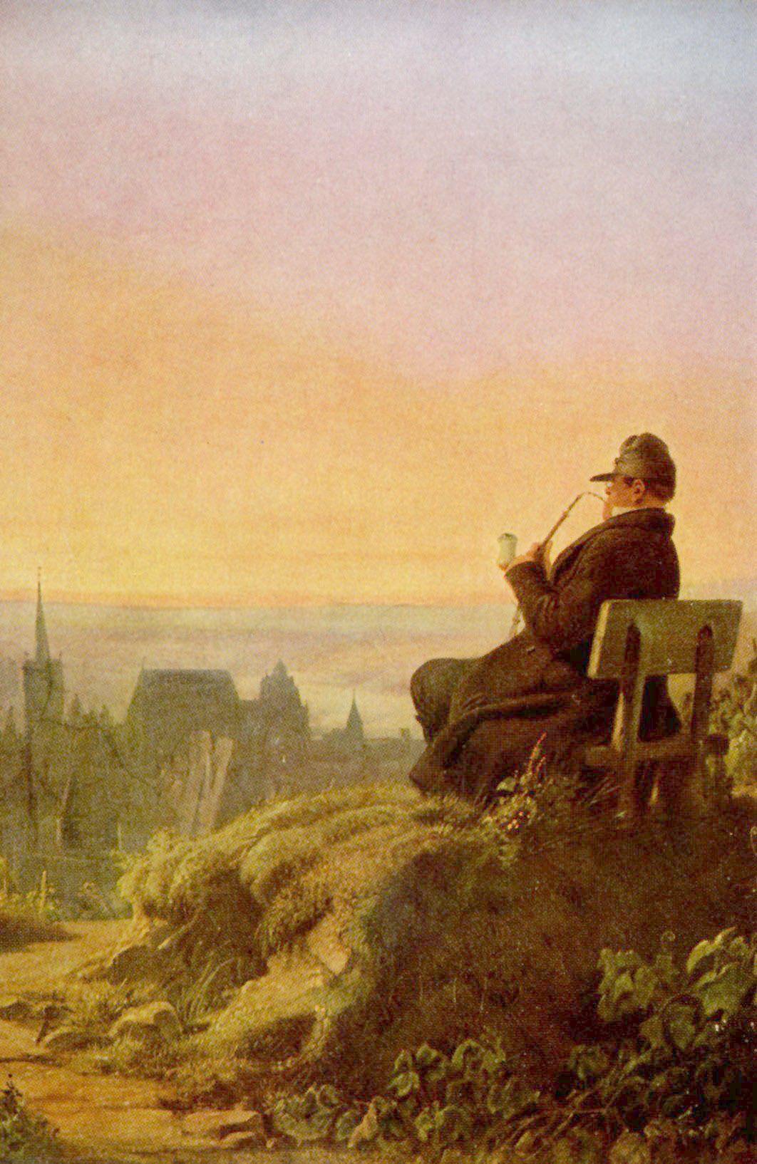 Carl Spitzwegs Gemälde eines Mannes, der pfeiferauchend auf einem Hügel sitzt und auf eine Stadt schaut