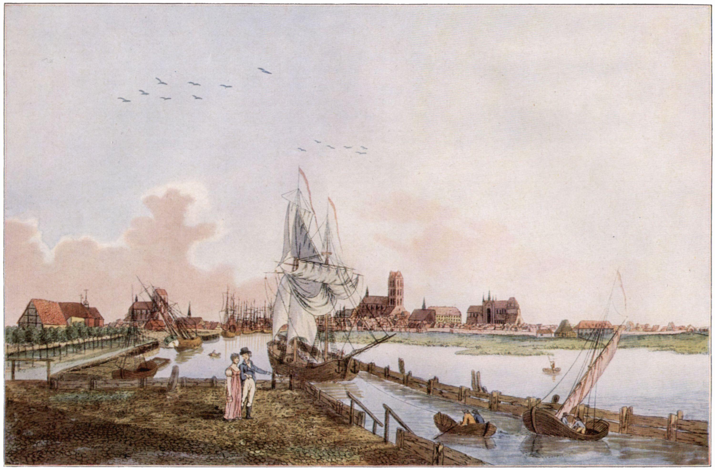 Hornemann, J. L.: Wismar, Ansicht von der Einfahrt zum Alten Hafen ...