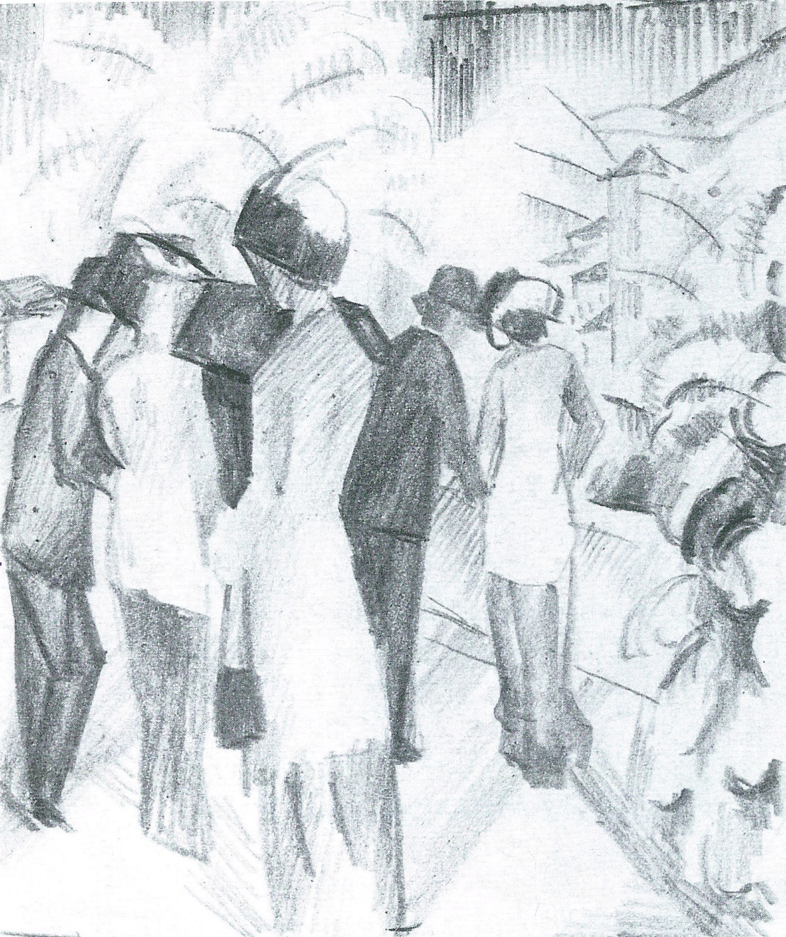 Macke, August: Dame in grüner Jacke (Skizze zum Bild)
