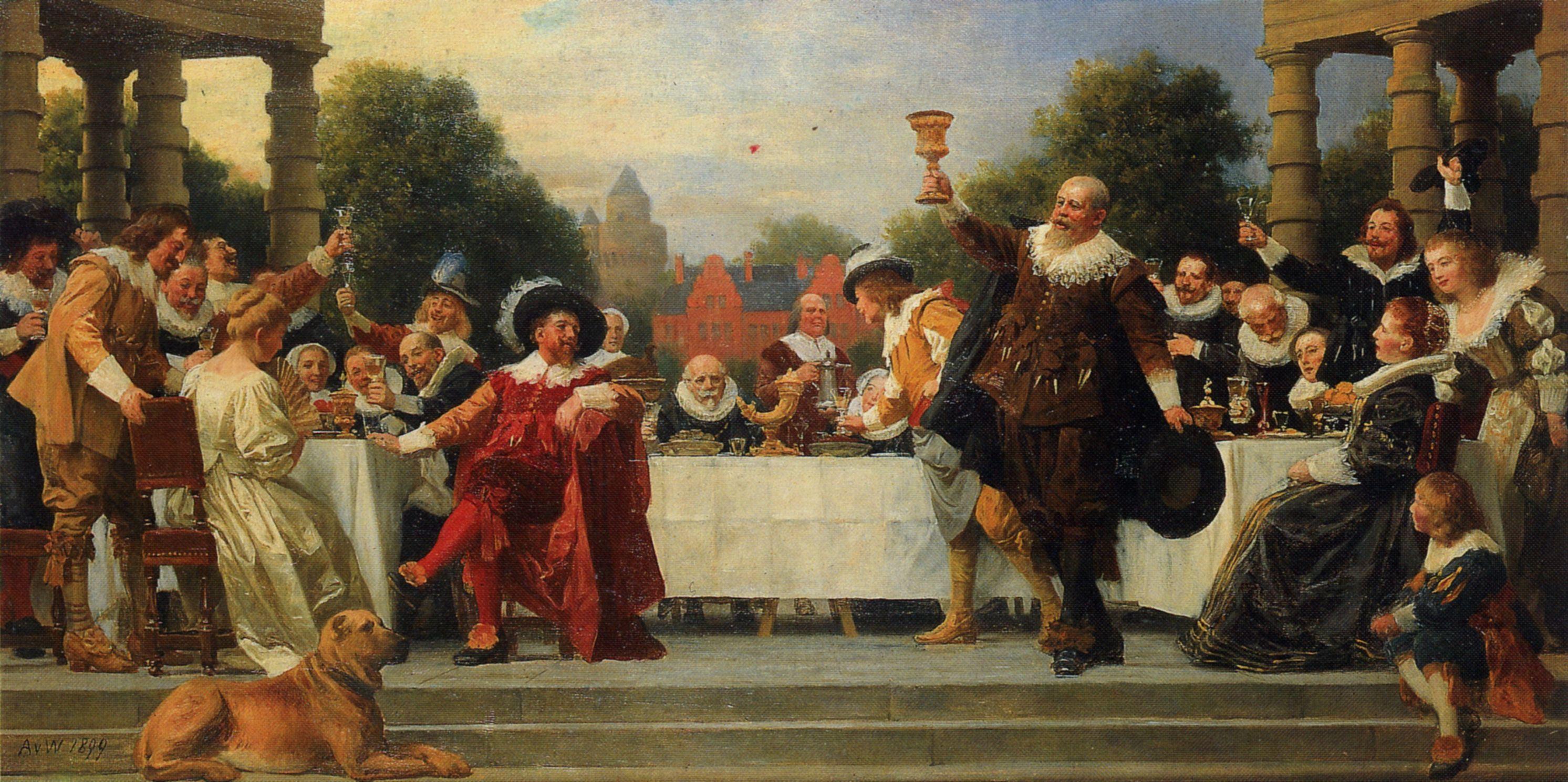 Werner anton von das gastmahl der familie mosse farbzkizze zum wandbild - Wandbild familie ...