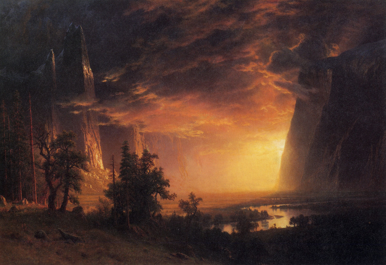 SUNSET IN THE YOSEMITE VALLEY CALIFORNIA LANDSCAPE BY ALBERT BIERSTADT REPRO