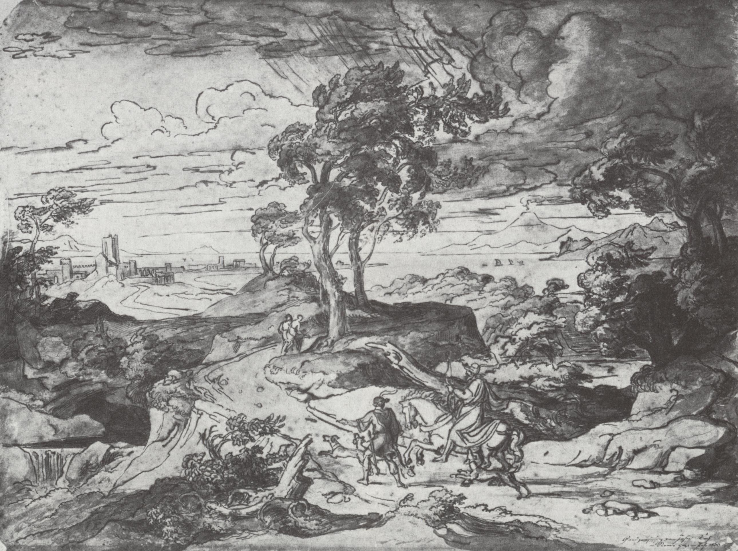 Ganz und zu Extrem Koch, Joseph Anton: Landschaft bei Gewitter mit heimkehrenden #SC_12