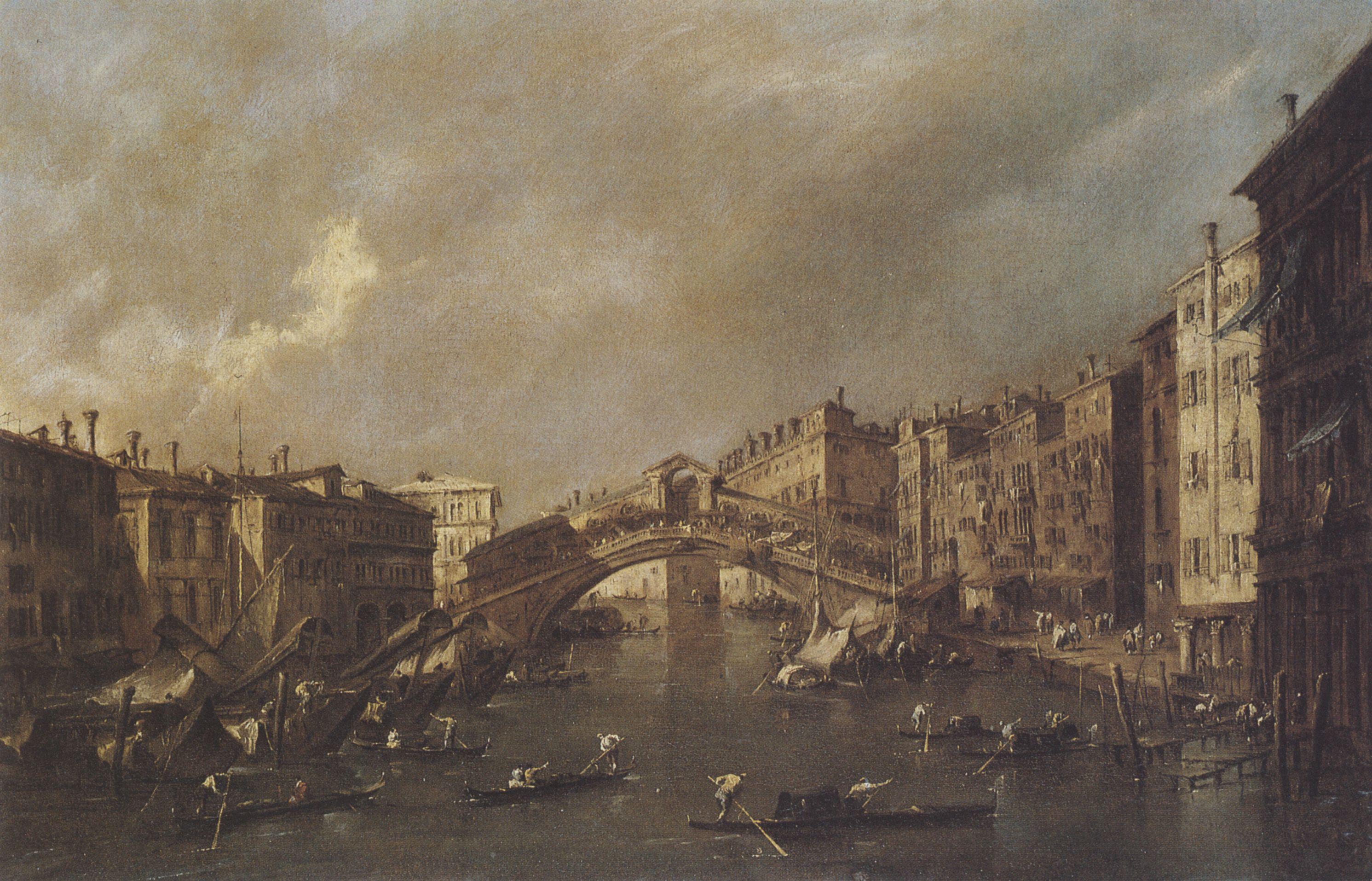 Francesco Guardi: Die Rialtobrücke mit Weinufer (via zeno.org)