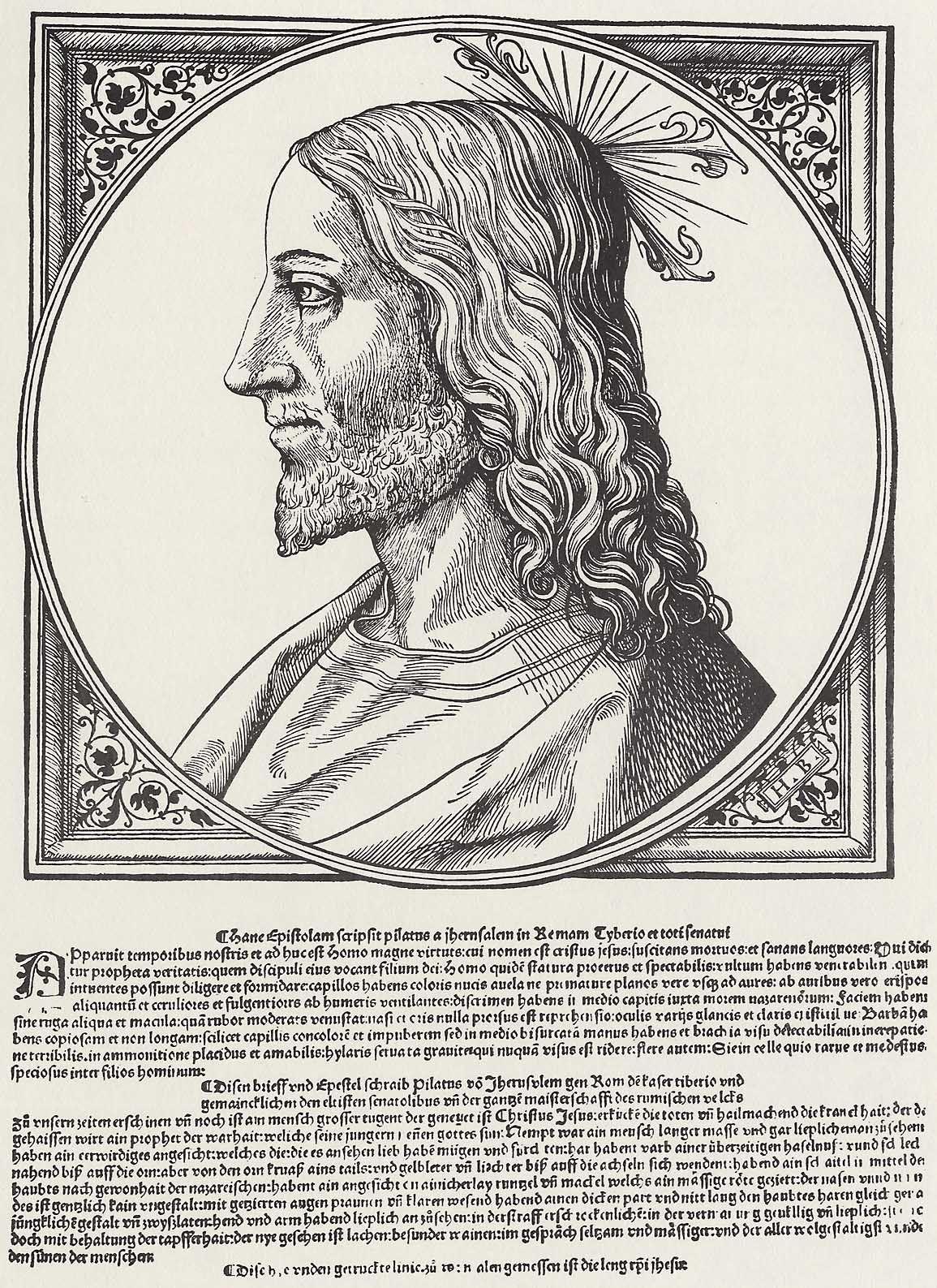 Burgkmair d. Ä., Hans: Antlitz Christi in einem Ornamentrahmen ...