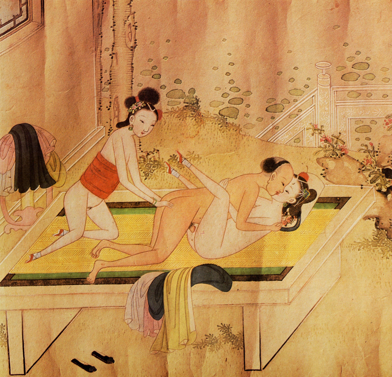 chinesischer k nstler des 18 jahrhunderts ein mann befriedigt ein m dchen w hrend ein. Black Bedroom Furniture Sets. Home Design Ideas