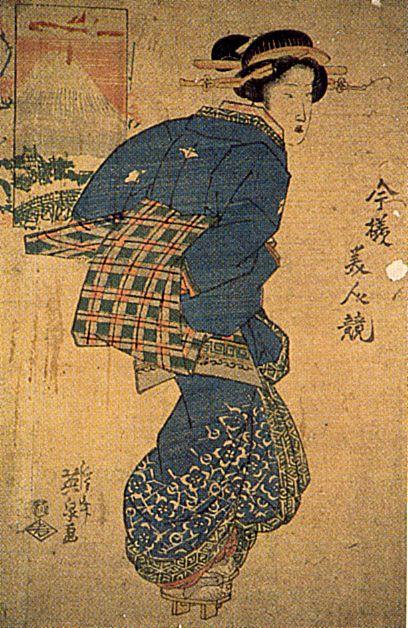 Keisai eisen geisha vor einem holzschnitt mit fuji darstellung