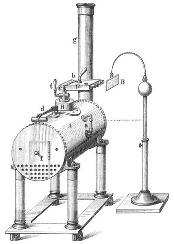 Fig. 4. Armstrongs Dampf-Elektrisiermaschine.