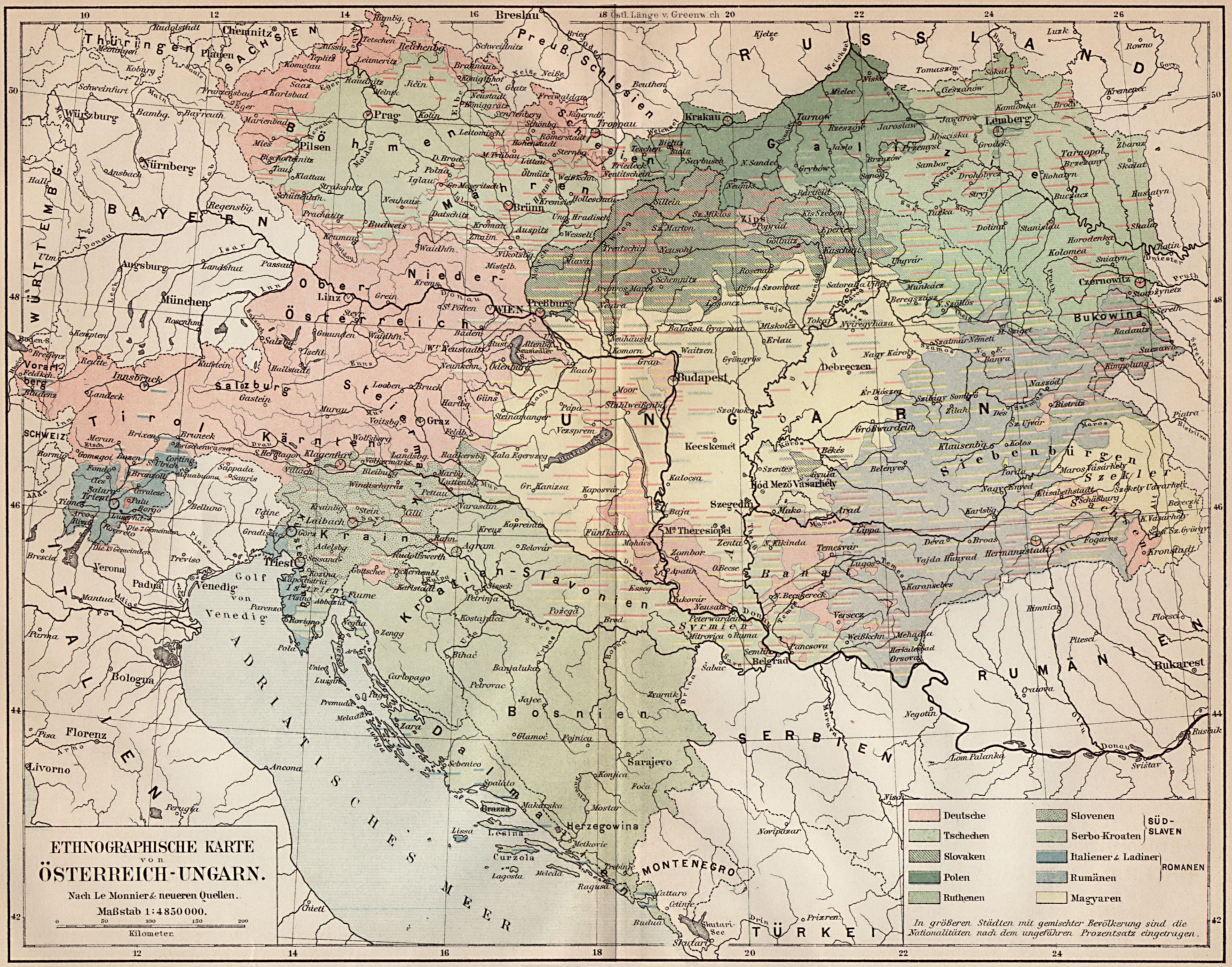 Ethnographische Karte Von Osterreich Ungarn Zeno Org