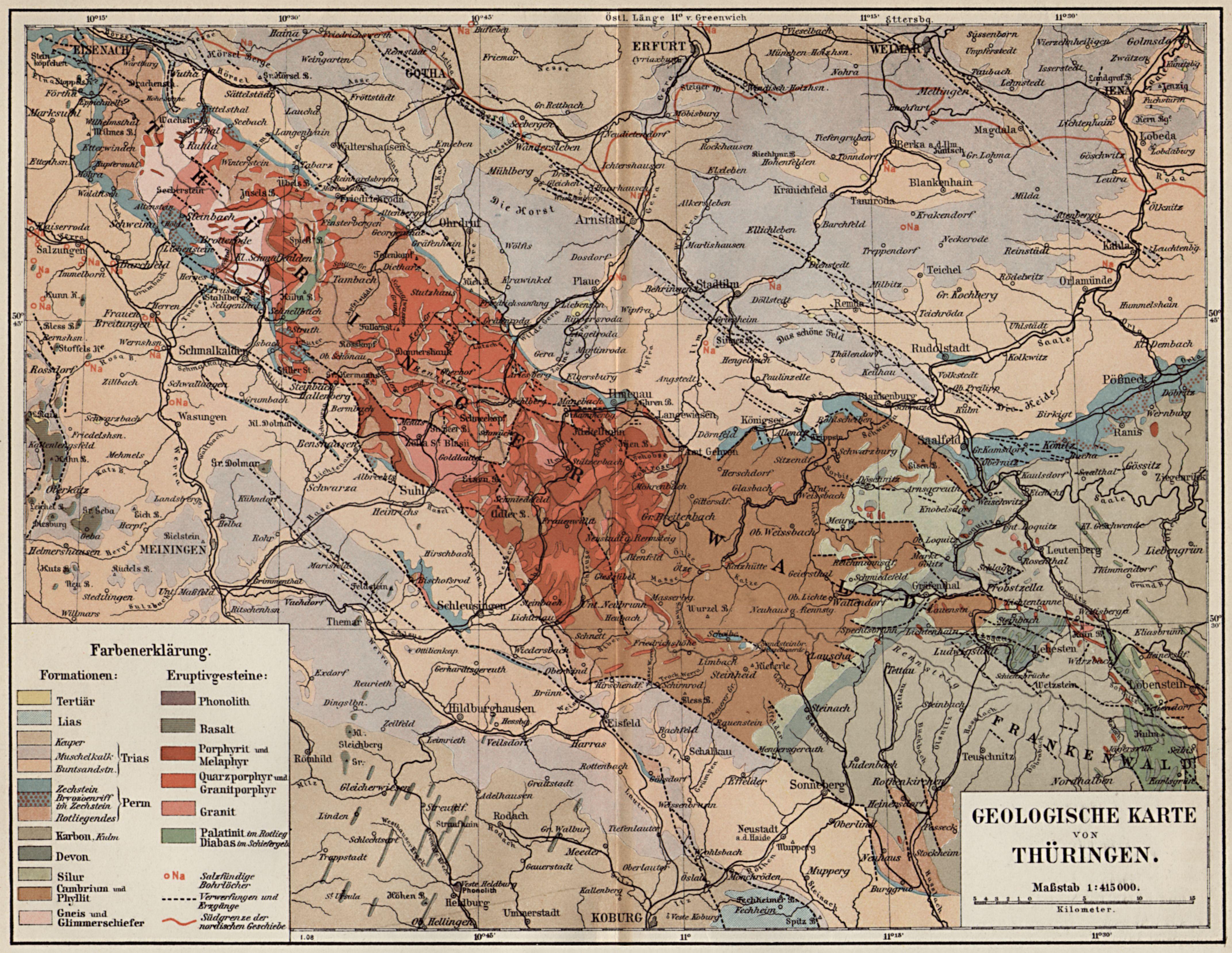 Geologische Karte Thüringen.Geologische Karte Von Thüringen Zeno Org