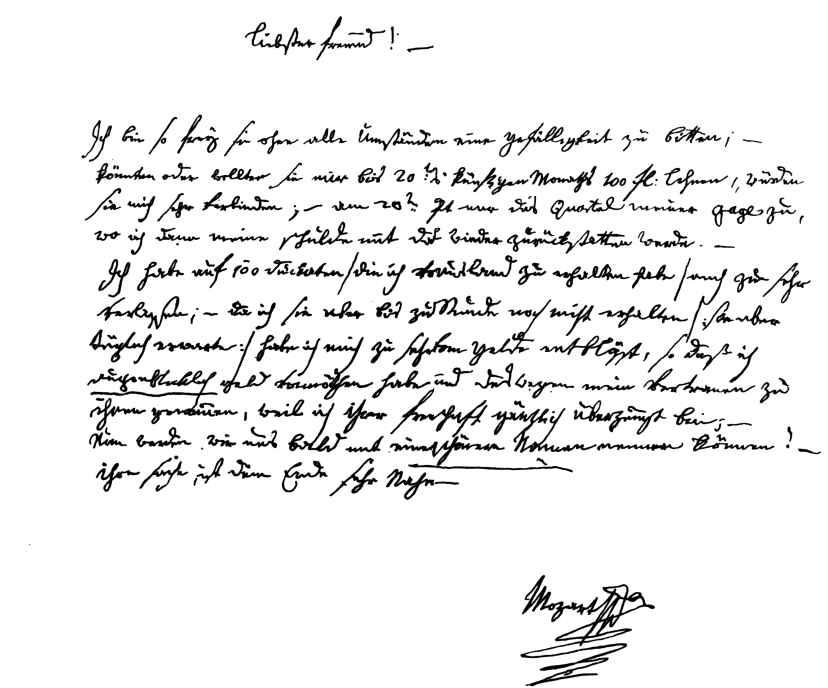 Briefe Von Mozart : Faksimile der handschrift des briefs no wien sept