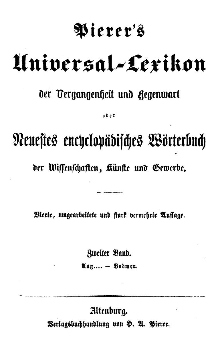 Pierer's Universal-Lexikon, Band 2. Altenburg 1857 S. 0