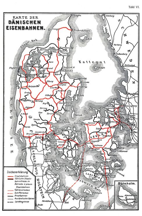 karte eisenbahnnetz dänemark Dänische Eisenbahnen   Zeno.org